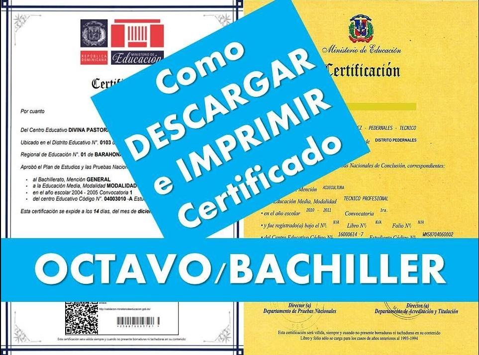 como descargar imprimir certificado de 8 grado en republica dominicana